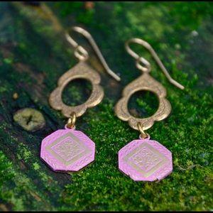 Jewelry - Pink Brass Dangle Earrings